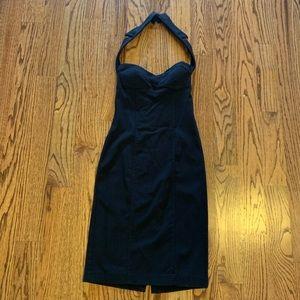 Worn 1 x. Black cocktail dress, halter top